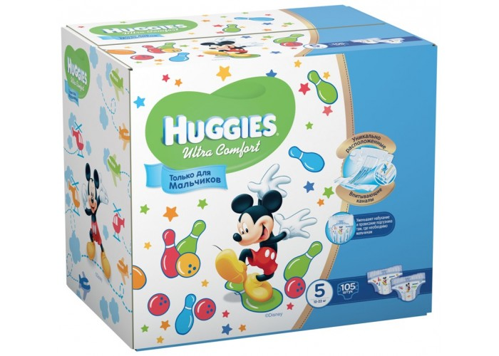 Подгузники Huggies Ultra Comfort Boy 5 (12-22кг), 105 шт.