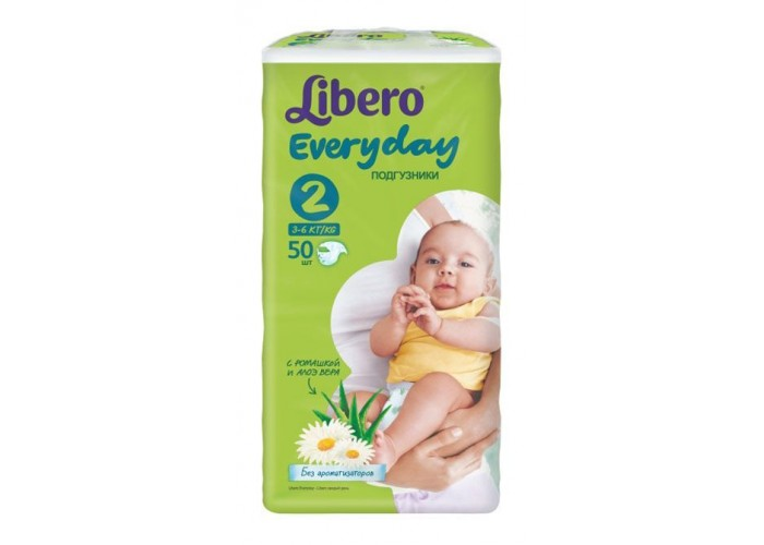 Подгузники Libero Everyday Mini 2 (3-6кг), 50 шт