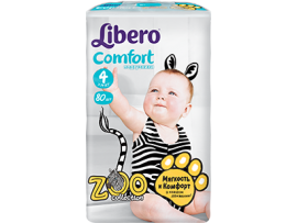 Подгузники Libero Comfort Zoo Collection 4, 80 шт
