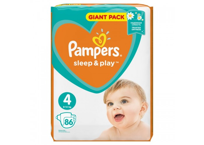 Подгузники Pampers Sleep&Play 4 Maxi (9-14 кг), 86 шт.