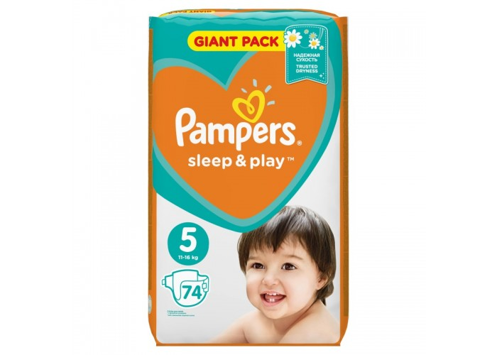 Подгузники Pampers Sleep&Play 5 (11-16 кг), 74 шт.