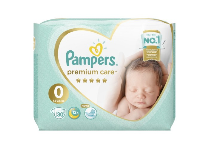 Подгузники Pampers Premium Care 0 (1.5-2.5 кг) 30 шт.