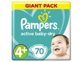 Подгузники Pampers Active Baby-Dry 4+ (10-15 кг), 70 шт.