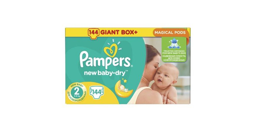 Подгузники Pampers New Baby-Dry Mini 2 (3-6 кг), 144шт