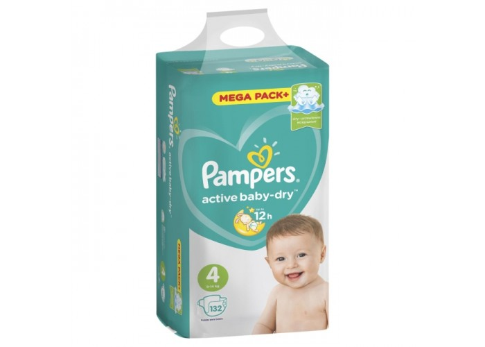 Подгузники Pampers Active Baby-Dry 4 (9-14 кг), 132 шт.