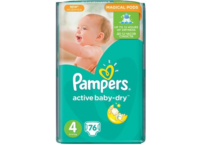 Подгузники Pampers Active Baby Maxi 4 (8-14 кг), 76шт