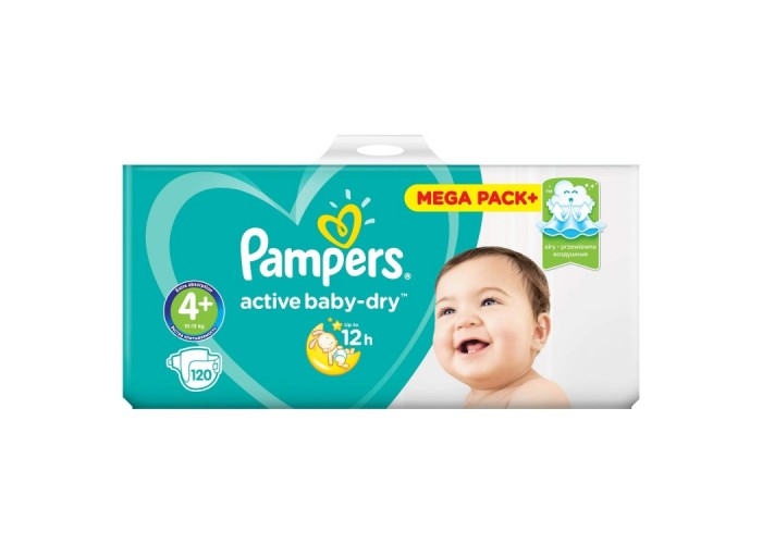 Подгузники Pampers Active Baby Maxi Plus 4+ (10-15 кг), 120 шт.