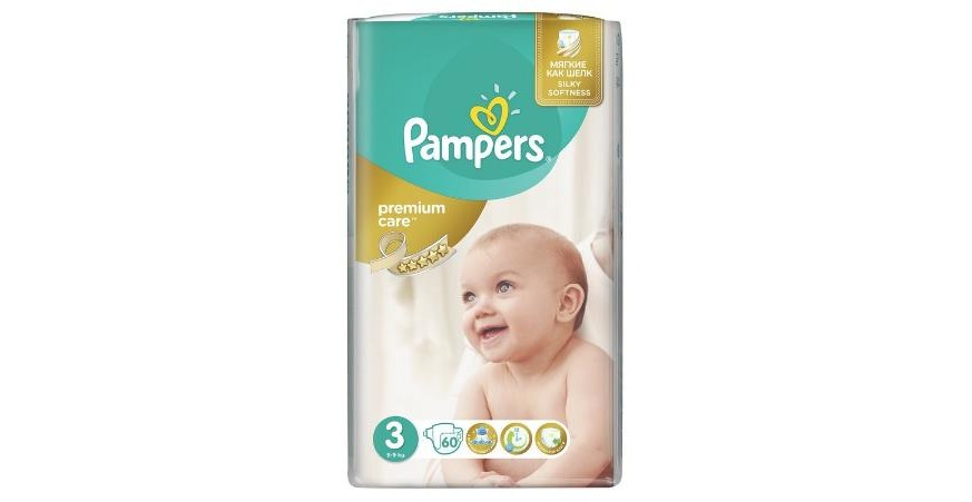 Подгузники Pampers Premium Care 3 (4-9 кг), 60шт