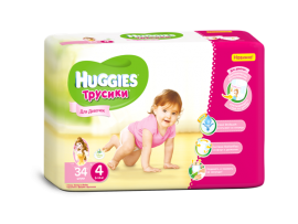 Трусики Huggies 4 Girl (9-14 кг), 34шт